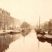 Amsterdam Brouwersgracht detail stereofoto rond 1880 . ntk